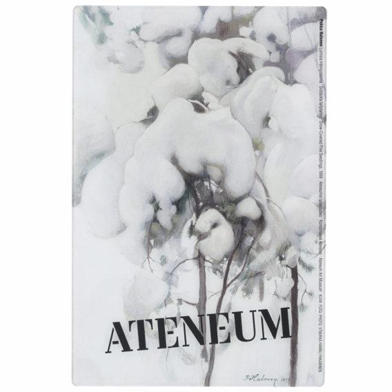 Lumisia männyntaimia jääraaputin, musta Ateneum-logo viistosti alareunassa