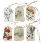 Kuusi erilaista kukkateemaista pakettikortti nauhalla