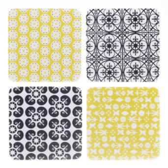 Ateneum Details lasinaluset, 2 mustavalkoista ja 2 keltaista, kaikissa eri kuvio