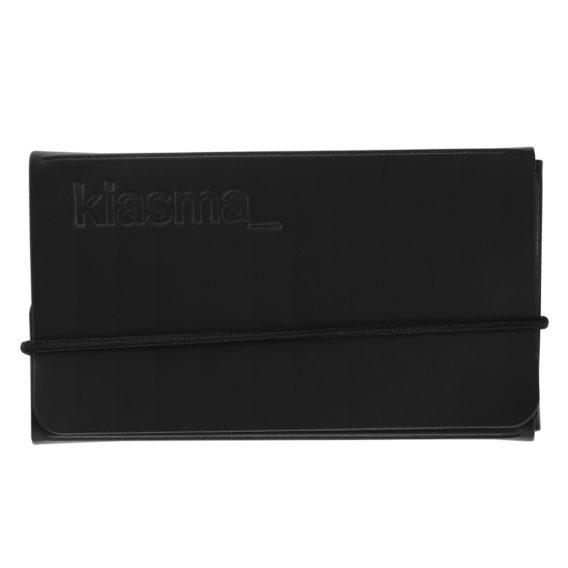 Kiasma käyntikorttikotelo musta uusionahka, msta nahkainen käyntikorttikotelo kuminauhalla ja kiasma-logopainatuksella