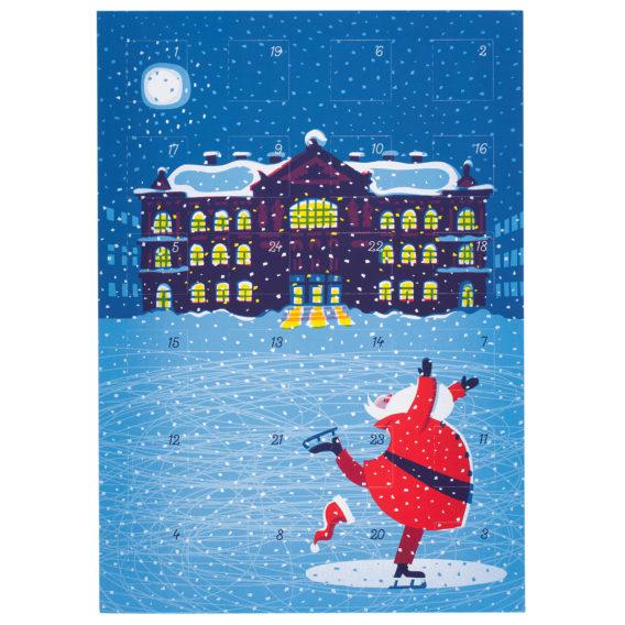 Ateneum joulupukki joulukalenteri, sinertävä piirros missä joulupukki luistelee Ateneumin edessä