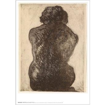 Keltaista taustaa vasten nainen kuvattuna selkä katsojaan päin, hieman kyyryssä, tumma