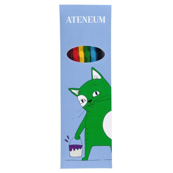 Skissi-kissan värikynät, sininen paketti missä vihreä Skissi ja valkoinen Ateneum logo