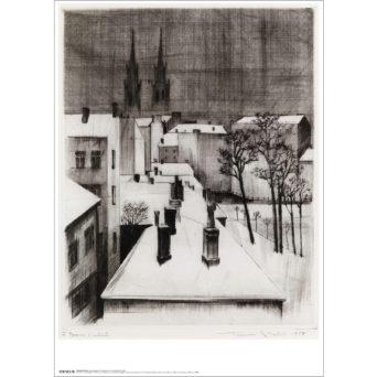 Mustavalkoinen grafiikkateos kattojen päältä, katot valkoisena lumesta, oikealla muutama puu ja vasemmalla takana näkyy tummanpuhuvat kirkon tornit