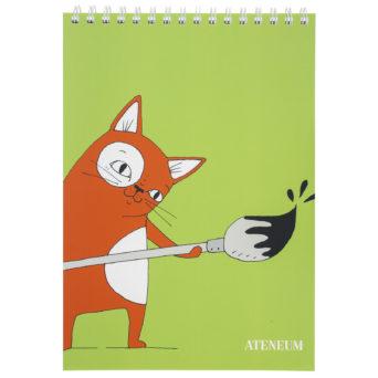 Kissa piirustuslehtiö A4, oranssi Skissi pensselli kädessä vihreällä taustalla