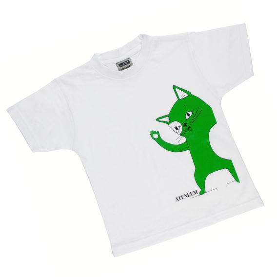 Skissi-kissa t-paita, vihreä Skissi-kissa ja ateneum logo valkoisella t-paidalla
