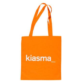 Kiasma puuvillakassi, kiasma logo painatus valkoisena oranssissa kassissa