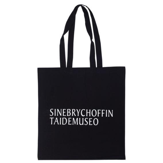 Siff puuvillakassi, Sinebrychoffin taidemuseo-printti valkoisena mustassa kassissa