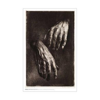 Tummanpuhuva lähikuva käsistä, oikea edessä ja vasen takana