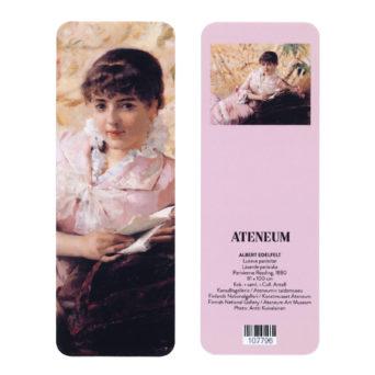 Lukeva pariisitar kirjanmerkki, toisella puolella lähikuva naisesta ja toisella puolella kuva teoksesta pienellä vaaleanpunaista taustaa vasten