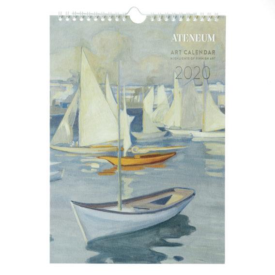 Seinäkalenterin kannessa maalaus purjeveneistä Helsingin edustalla