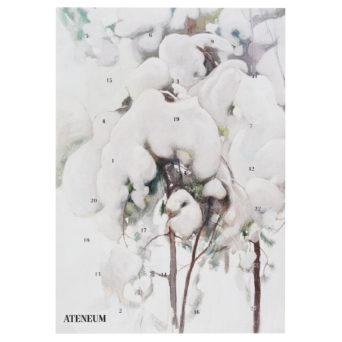 Joulukalenteri, jossa maalattuja lumen peittämiä oksia
