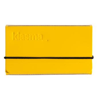 keltainen korttikotelo, musta kuminauha