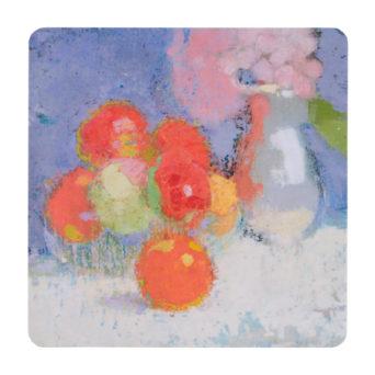 Maalaus omenaoista ja kukista, pastellisävyjä