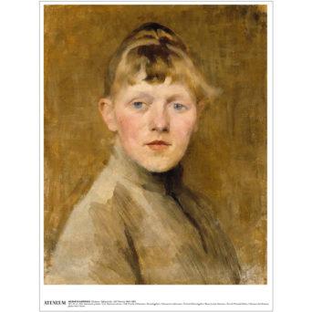 Nuori Helene Schjerfbeck kuvattuna edestäpäin, katsoo suoraan katsojaan, siniset silmät, vaaleat hiukset, kuvan yleisväri oranssiruskea