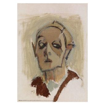 Karkea hahmotelma vanhemman naisen kasvoista vaalealla taustalla