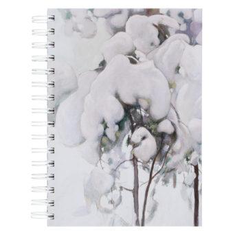 Kovakantinen kierremuistikirja, jonka kannessa on kuva lumisista oksista