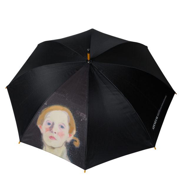 Musta avattu sateenvarjo, jossa naisen kasvot