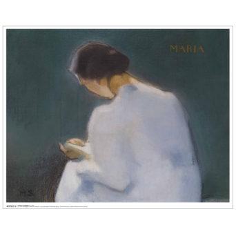 Kuvassa nainen kuvattuna takaa päin, hän lukee kirjaa ja hänen hiuksena ovat ruskeat ja nutturalla niskassa, päällä valkea mekko, tausta on sinivihreä ja kultaisella oikeassa yläkulmassa lukee Maria