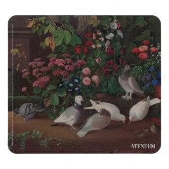 Hiirimaton kuvassa kukkia ja lintuja
