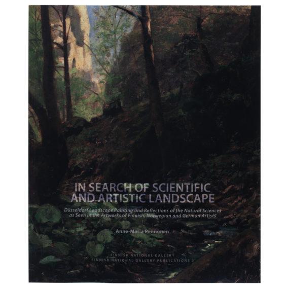 Pehmeäkantinen kirja, jonka kannessa maalattu kuva metsästä,