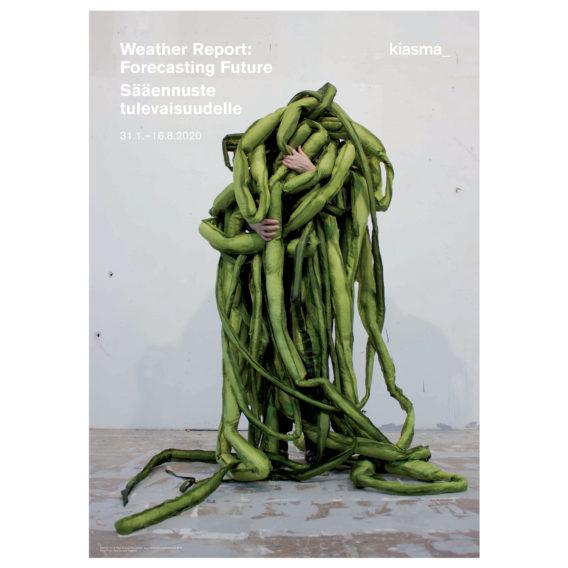 Juliste installaatiosta, jossa ihmisen kädet kurkistavat vihreiden lonkeroiden seasta