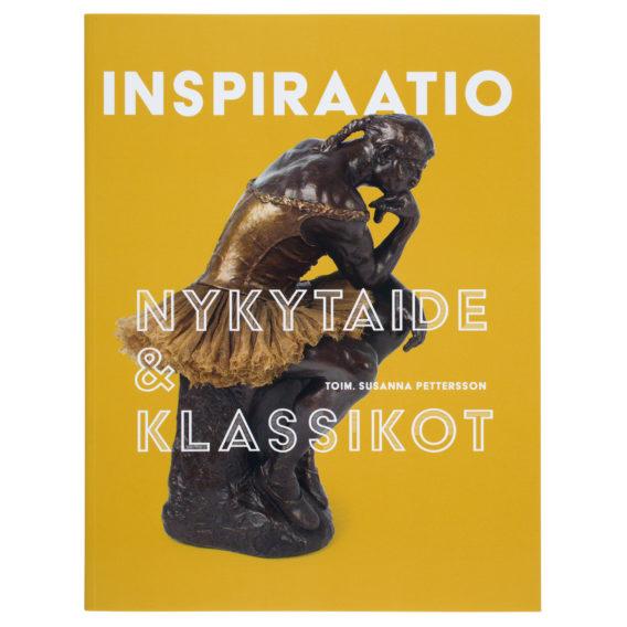 Pehmeäkantinen kirja, jossa Rodinin Ajattelija-veistos keltaisella taustalla