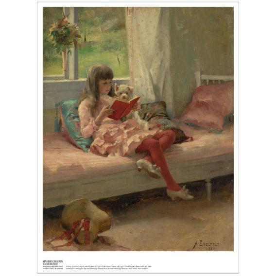 Kartonkikuvassa tyttö istuu lukemassa koira sylissään ikkunan edessä, lattialla etualalla hattu, valkoiset reunat kuvan ympärillä