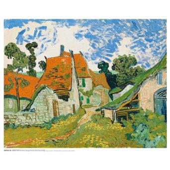 Karkeasti tyylitelty maalaus, jossa oranssikattoisia taloja maailaimaisemassa