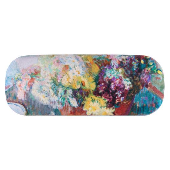 Pyöristetty, suorakulmainen kotelo, jossa hempeän värinen kukka-asetelma