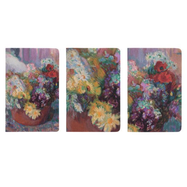 Hempeänvärinen violetinsävyinen maalaus kukka-asetelmasta rusehtavassa maljakossa, kolme ykstyiskohtaa