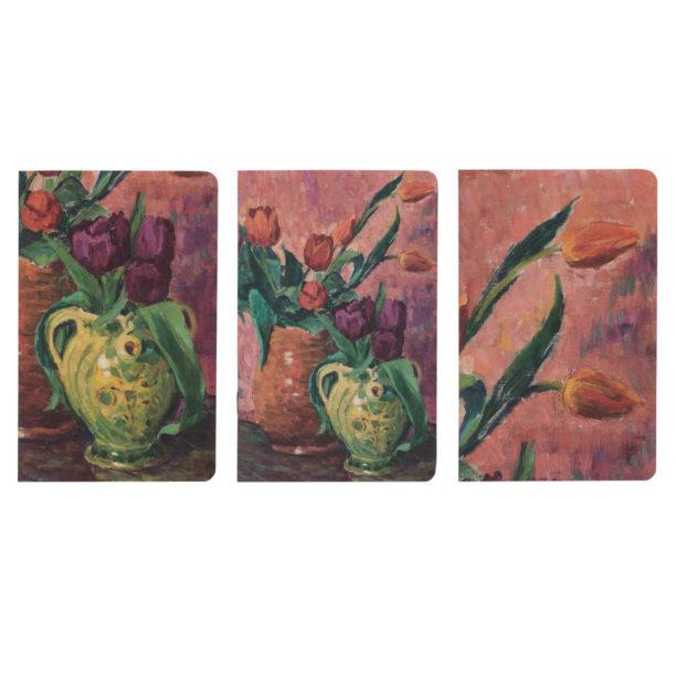 Kolme erilaista yksityiskohtaa teoksesta, jossa kahdessa maljakossa tulppaaneja