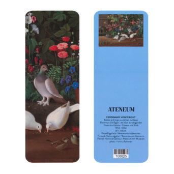 Kirjanmerkin kaksi puolta vierekkäin, toisella puolella valokuvantarkassa maalauksessa vaaleita lintuja maassa taustallaan kukkia, toisella puolella pieni kuva koko maalauksesta taivaansinisellä taustalla