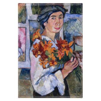 Juliste maalauksesta, jossa huivipäisellä naisella on kädessään keltaisia liljoja