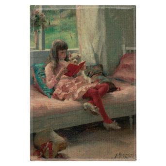 Ttyttö istuu lukemassa