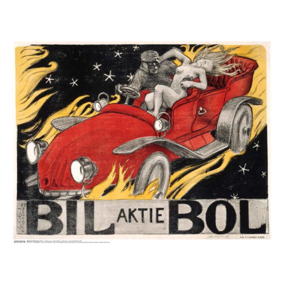 Piirustus punaisesta kilpa-autosta, tummalla taustalla liekkejä, kyydissä mies ja nainen