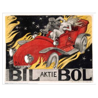 Mustiin pukeutunut mies ja alaston nainen punaisessa autossa jossa ei ole kattoa, auto ajaa liekkien päällä, alhaalla isolla teksti Bil aktie Bol