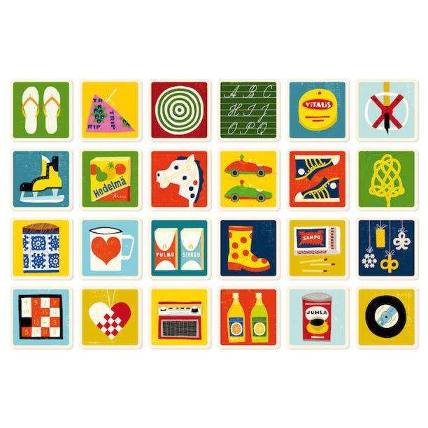 24 erilaista korttia, joissa retrohenkisiä piirrettyjä kuvia