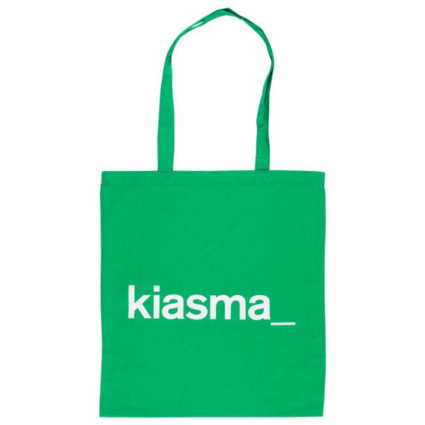 Vihreä kangaskassi, jossa valkoisella Kiasman logo