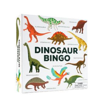 Neliön mallinen, valkotaustainen rasia, jonka kannessa piirrettynä erilaisia dinosauruksia