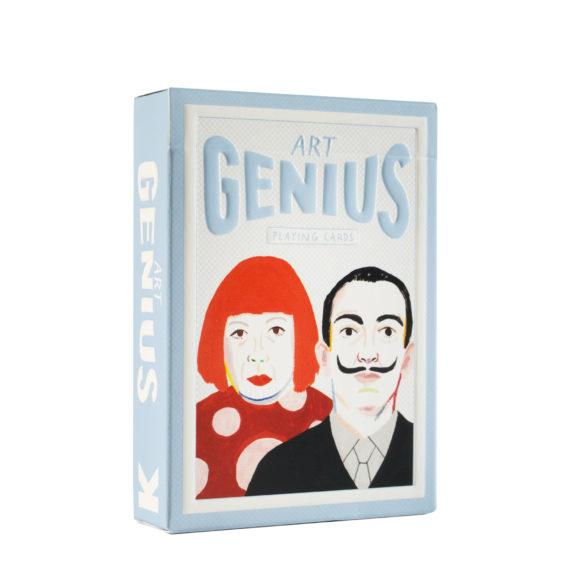 Korttipakka, jossa vaaleansininen taustaväritys ja kuvassa punahiuksinen nainen punainen huivi kaulassaan sekä mustaviiksinen mies