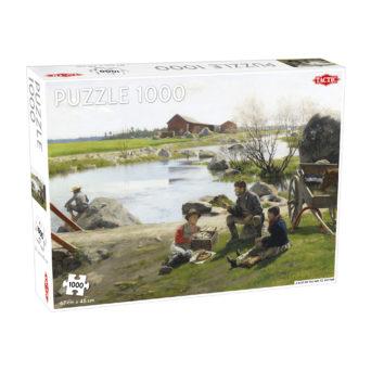 Palapelirasian kannessa maalaus ihmisistä lepohetkellä joen rannalla