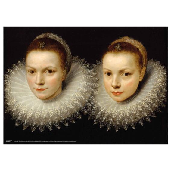 Kaksi naista valkoisissa röyhelökauluksissa