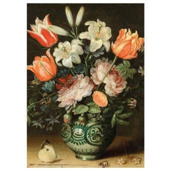 Maalauksessa oranssin ja punaisen sävyisiä kukkia maljakossa tummalla taustalla
