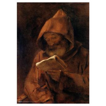 Tummassa maalauksessa hahmo ruskeassa munkinkaavussa kirja kädessään