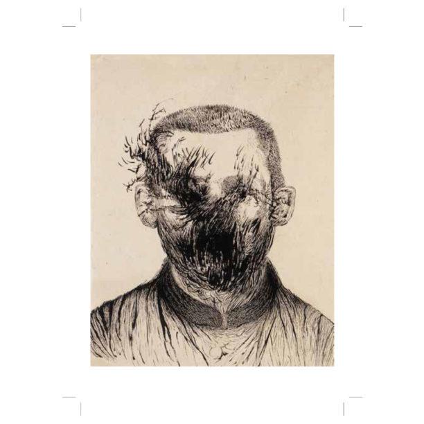 Vaalealle taustalle piirretyt kasvot, joiden päälle on sotkettu