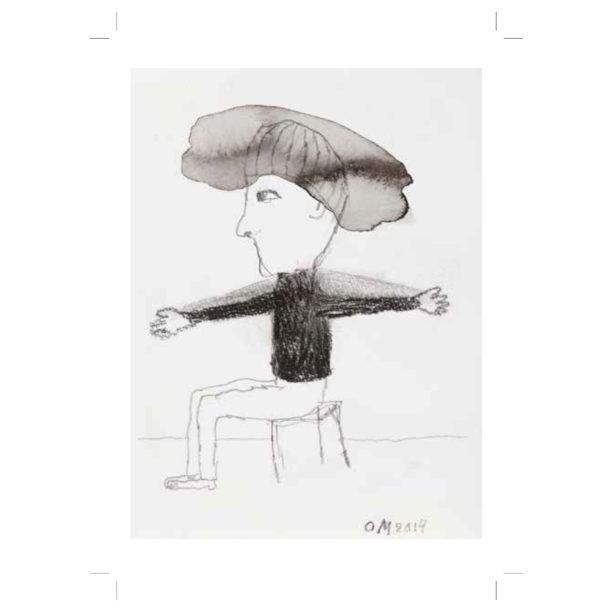 Piirroksessa istuva hattupäinen hahmo kädet levällään