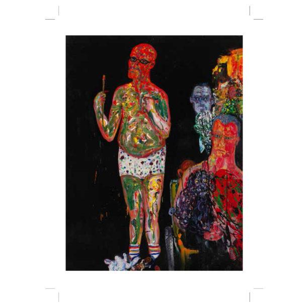Maalauksessa alushousuihin pukeutunut mieshahmo seisoo värikkään möykyn vieressä
