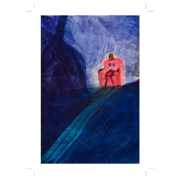 Maalauksessa tummansininen maisema, jossa polku vie ylämäkeen ja siellä on punainen hahmo