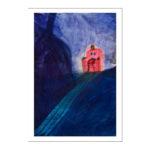 Sininen kuva valkoisilla reunoilla, oikealla viistosti joku istuu punaisessa nojatuolissa
